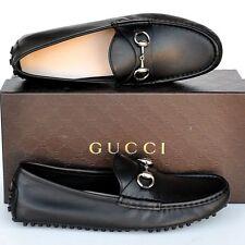 GUCCI New sz 41.5 G - 12 Horsebit Designer Womens Drivers Flats Shoes Black