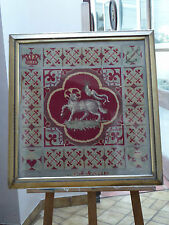 Victorian Armorial Crest Woolwork Needlepoint Free Shipping To Mainland England