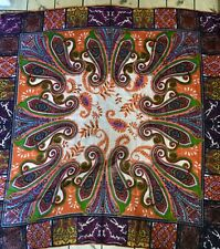 ETRO SCARF- SILK 50x50 PAISLEY FLORAL Green ORANGE Black Cream Made In FRANCE