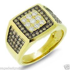 Mens 1.54CT 14K Yellow Gold Champagne White Diamond Mans Ring Band