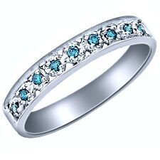 Pave Set Blue Diamond Wedding Anniversary Band Ring 10k White Gold