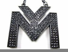 """LiL Wayne Fully Iced Out Young Money Pendant & 36"""" Black Franco Chain Hip Hop"""
