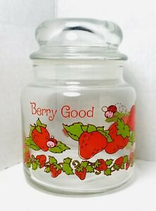"""Vintage Strawberry Shortcake 5.5"""" BERRY GOOD Glass Canister Small Candy Jar Lid"""