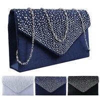 Ladies Elegant Satin Diamante Bridal Evening Clutch Bag Prom Party Handbag Purse