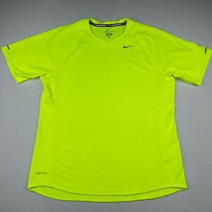 Nike T Shirt Mens Medium Yellow Neon Short Sleeve Miller Active Polyester- flaw