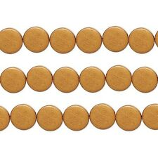 Wood Coin Beads Light Brown 15mm 16 Inch Strand