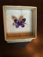Amethyst Butterfly Sterling Silver Ring