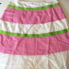 Moda International Womens Skirt White Pink Green Color Block Cotton A-Line 8