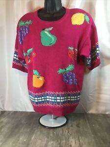 vintage 80s sweater fruit Short Sleeve Pink Cherries Lemon Grape