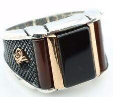 925 Sterling Silver Agate & Onyx Stone Men's Ring -US Seller-All Sizes 8-12 K6N