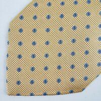 """Brioni Hand Made Foulard Flower Silk Neck Tie 60"""" x 4"""" Yellow Blue"""