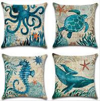 """Marine Ocean Animal Cotton Linen Pillow Case Throw Cushion Cover Home Decor 18"""""""