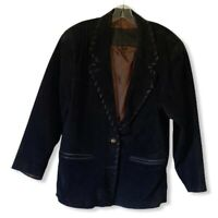 Foxrun Two Womens Blazer Jacket Black Leather Button Front Whipstitch Lined M