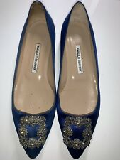 Authentic Manolo Blahnik Hangisi Flat with Crystal Size 39