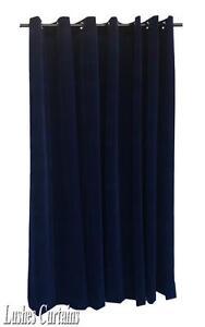 Navy Blue 144 inch Long Velvet Curtain Panel w/Grommet Top Eyelets Window Drapes