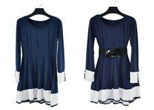Corea Para mujeres Mangas Largas Moda Vestido Ceñido Cinturón Túnica Dobladillo de expansión Talla M