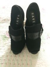 Beautiful RAVEL open Toe Black Leather/ Suede Buckle Shoes-sz 5. Worn Once