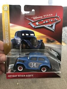 Disney Pixar Cars Blue Heyday River Scott 51 Doc's Racing Days series 2018 Vhtf