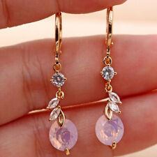 18K Gold Filled - 1.3'' Leaf Round Pink Opal Topaz Zircon Dangle Gem Earrings DS