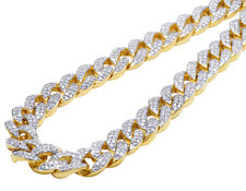 """Men's 10k Yellow Gold Miami Cuban Link Real Diamond Necklace Chain 34ct 16mm 23"""""""