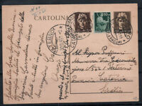Italia Repubblica 1946 Intero postale 80% PATERNO, Catania, Sicilia