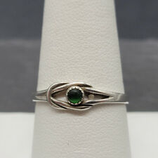 Vintage 925 Sterling Silver Ring With Green Glass Size 8.75