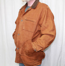 Mens Eddie Bauer Suede Leather Button Up Coat Jacket Sz L Made In the USA