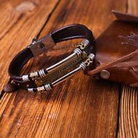 Vintage Men's Metal Steel Studded Surfer Leather Bangle Cuff Fashion Bracelet H1