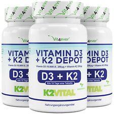 180 - 540 Tabletten Vitamin D3 10.000 I.E. + Vitamin K2 Menaquinon MK-7 IU Depot