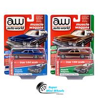 Auto World 1:64 PREMIUM Series 2 1974 Buick Estate Wagon A (Blue)  / B (Brown)