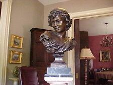 """Antique French Bronze Bust """"Pecheur Neapolitain"""" after J. Bapt. Carpeaux"""