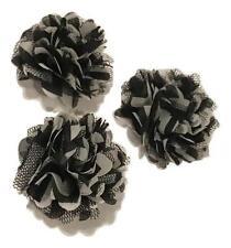 "3 pieces Black 2"" chiffon & tulle mesh chevron flowers / diy hair bows"