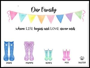 A4 Personalised -FAMILY-Hallway HOME Welly Boots- Wall Art Print - PRINT ONLY