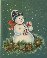 VINTAGE CHRISTMAS WHITE GREEN RED SNOWMAN PINE CONES PIPE SMOKING GREETING CARD