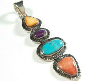 """925 STERLING ELONGATED ETCHED SPINY OYSTER & TURQUOISE 2 3/16"""" x 11/16"""" PENDANT"""