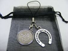 1960 Lucky Sixpence & Horseshoe Phone / Bag Charm - Nice Birthday Gift