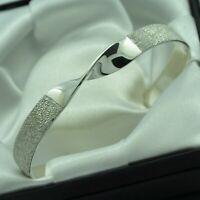 Semi Textured & Plain Solid 925 Sterling Silver Twist Design Cuff Bracelet
