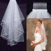 Women Handmade Bridal Satin Veil Wedding Veils Elbow Length With Comb 2 Layer