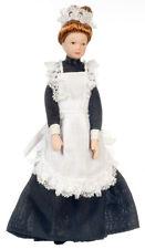 Dollhouse Miniature Doll Maid Black Dress Porcelain 1:12 Scale