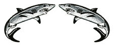 Shark - Fishing - Ocean - 5 Inch Fully Embroidered Iron On Patch - Set Of 2