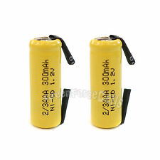 2 pcs 2/3 AAA 2/3AAA Ni-Cd 300mAh 1.2V Rechargeable Battery With Tab Yellow