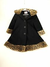 Vintage Girls Black Wool Rothschild Winter Hooded Leopard Coat 3 3t Hood Jacket