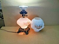 Vintage Milk Glass Shade Floral Motif   Table Lamp  20.5'' T ~9'' W Brass Base