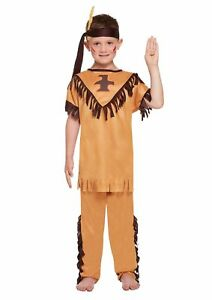 BOYS NATIVE AMERICAN INDIAN COSTUME FANCY DRESS BOOK WEEK DAY OUTFITS 4-12 YRS