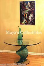 "Sculptural Glass Table Spiral Danny Lane Style Mid century Modern Art Glass 48"""