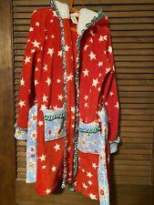 Matilda Jane EVENING IN Robe Large 12 14 Red Christmas Star Sherpa Hood EUC
