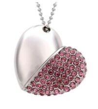 USB Flash Drive 8GB Heart Half Pink Silver with Crystals Pen Drive usb Love UK