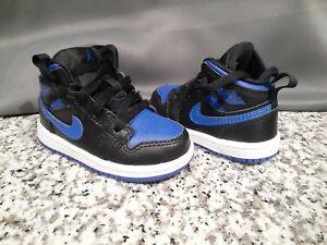 Toddler Nike Air Jordan 1 Mid Black/Hyper Royal-White (TD) 640735-068 Size 5C