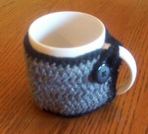 Hand Crochet Black & Dark Gray Buttoned Coffee Mug Cozy