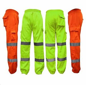 HI ViS HIGH VIZ VISIBILITY SAFETY FLEECE JOGGERS FOR WORK TROUSERS JOGGING PANTS